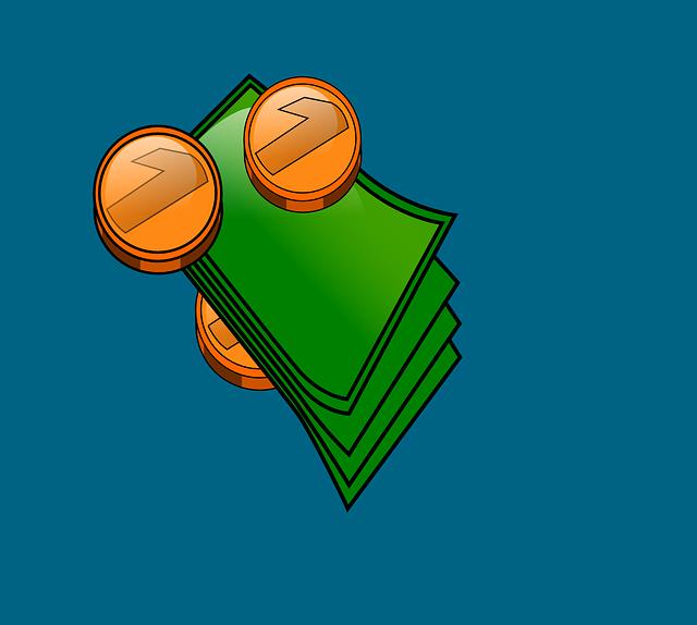 bankovky a mince, ilustrace